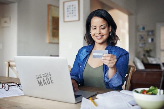 woman laptop card