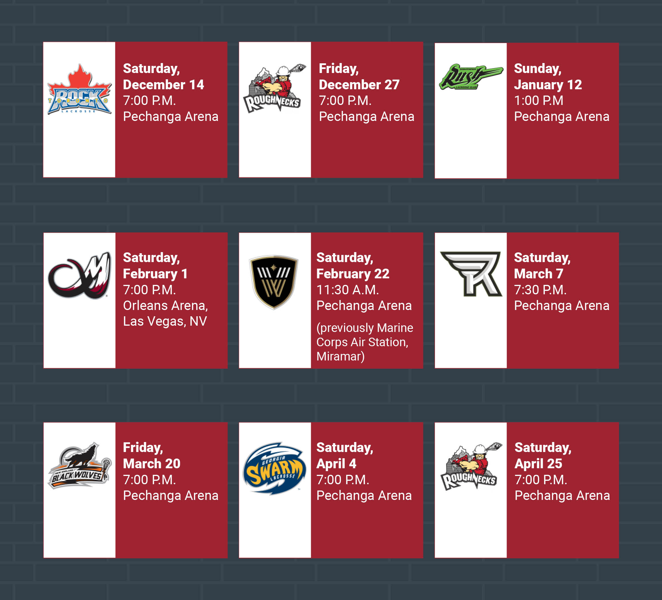 San Diego Seals Home Schedule