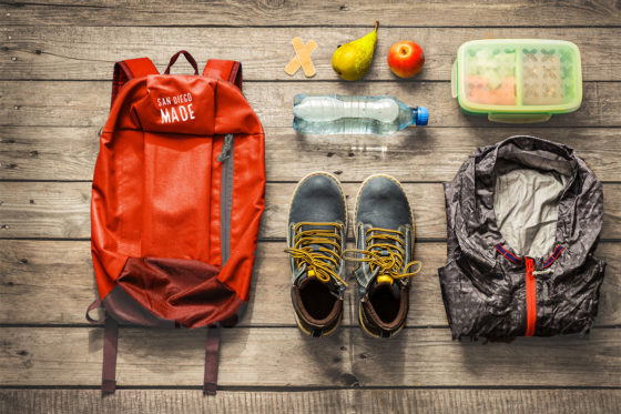 Backpack items for hiking