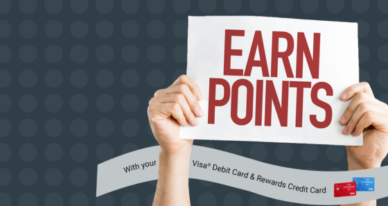Earn points with your Visa debit card and rewards credit card