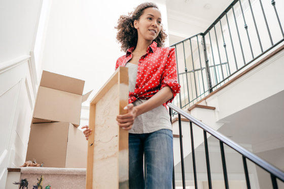 woman moving into home