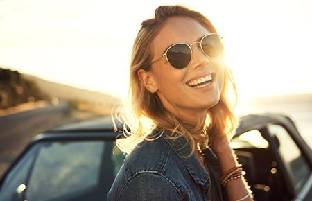 girl sunset car