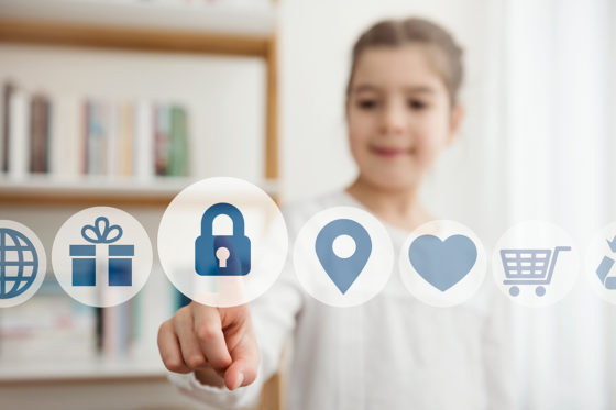Girl clicking on floating security icon