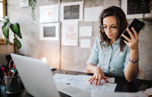 Woman working on administrator tasks