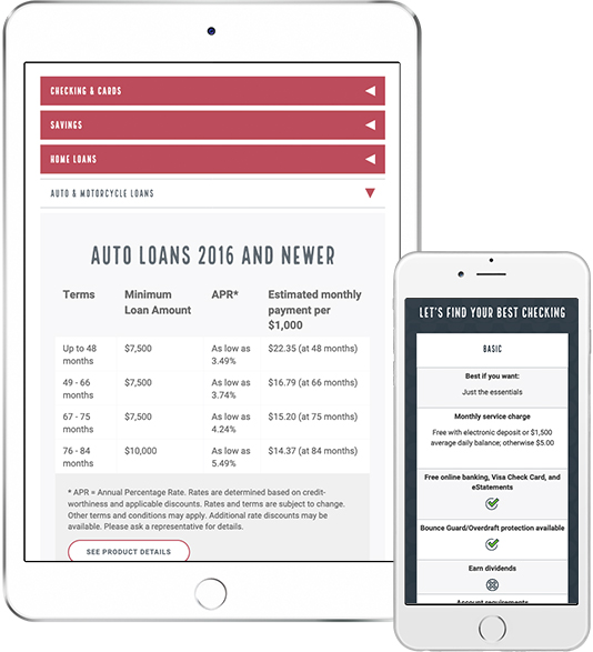 Rates information in mobile and tablet view