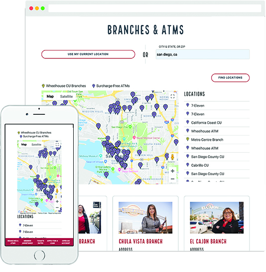 Screenshot of Branches and ATM page