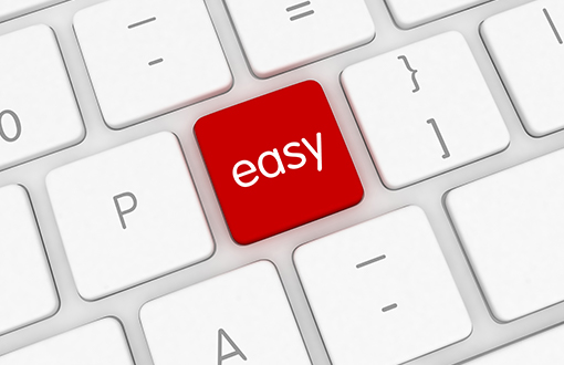 Keyboard with an key saying easy in red
